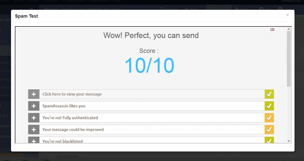 Spam test for email marketing